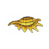 """Metallic Gold Sea Shell, Iron On Applique  Fully Embroidered   Measures 1"""" high x 2"""" wide approximately"""
