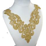 """Venise Lace Yoke Applique Metallic Gold 10"""" x 10"""""""