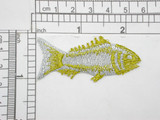 "Fish Metallic Gold & Silver Iron On Patch Applique  Fully Embroidered with Metallic Threads  Measures 1"" high x 2 1/4"" wide approximately"