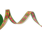 "Jacquard Ribbon 5/8"" Metallic Hearts Green Gold 17 Yard Roll"