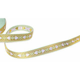 "Jacquard Ribbon 5/8"" Metallic Hearts Lt Green Lavender Gold 17 Yard Roll"