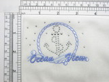 """Nautical Anchor Studded Embroidered Applique Iron On  Measures 2 1/4"""" high x 3"""" wide approximately"""