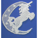 Iron On Venise Lace Applique - Unicorn and Moon  Sew On
