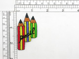 """Pencil Trio D Iron On Patch Applique   Fully Embroidered   Measures 2 1/4"""" high x 1 1/4"""" wide approximately"""