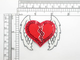 Heart with Wings Sequinned Embroidered Iron On Patch Applique