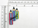 """Pencil Trio A Iron On Patch Applique   Fully Embroidered   Measures 2 1/4"""" high x 1 1/4"""" wide approximately"""