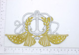 Large Anchor and US Flags Embroidered Iron On Patch Applique