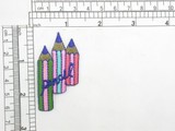 """Pencil Trio B Iron On Patch Applique   Fully Embroidered   Measures 2 1/4"""" high x 1 1/4"""" wide approximately"""