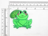 """Frog Patch with Flower Iron On Embroidered Applique 2 1/4"""" x 2 5/8"""""""