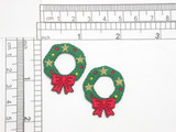 "2 x Christmas Garland Embroidered Iron On Patch Applique  embroidered with Metallic and Rayon Thread on a Green Felt Backing Measures 1"" across  1 1/4"" high approximately"