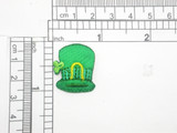 """St Patricks Hat Patch Embroidered iron On Applique 7/8"""" x 1"""""""