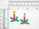 "2 x Christmas Candle Embroidered Iron On Patch Applique  Fully Embroidered with Metallic and Rayon Thread Measures 1"" across x 1 1/4"" high approximately"