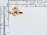 """Iron On Patch Applique - Artists Palette Embroidered on a twill background Measures 1 1/4"""" across x 1 5/16"""" high"""