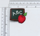"""School Chalk Board Patch Embroidered on a twill Backing Measures 1 7/8"""" across x 1 3/4"""" high"""