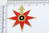 """Nautical Compass Red Iron on Patch Fully Embroidered  Measures 3 3/4"""" across x 3 1/2"""" high"""
