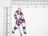 """Hockey Player Iron On Patch Applique  Fully Embroidered Measures 3 1/4"""" high x 1 3/4"""" wide approximately"""