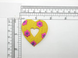 """Flower Heart Patch 1  7/8"""" Embroidered Iron On Applique"""