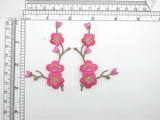 """Cherry Blossom Patch Left and Right Embroidered Iron On Appliques Measures 3"""" high x 1 7/8"""" each piece"""