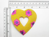 """Flower Heart Patch 3 3/8"""" Embroidered Iron On Applique"""