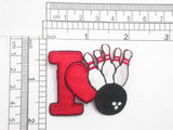 """I Love Bowling Iron On Patch Applique  Embroidered on a Red Sateen Backing Measures 2 1/8"""" across x 1 3/4"""" high"""