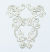 Iron On Patch Applique - Large Decorative Metallic Silver Left & Right Pair