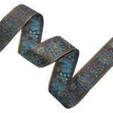 """Jacquard Ribbon 2 1/8"""" Brown Turquoise & Metallic Gold Floral"""