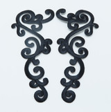 Black Swirl Patch Iron On Embroidered Applique - Large Decorative Pair