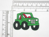 "Jeep 4x4 Iron On Applique  Embroidered on a Green Twill Backing  Measures 2 1/8"" across x 1 1/2"" high"