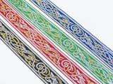 "Jacquard Ribbon 1 1/4"" Met Silver & Gold Zoomorphic Celtic Beastie *Colors*"