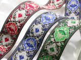 """Jacquard Ribbon 1 1/2"""" Black Tan & *Colors* Formal"""
