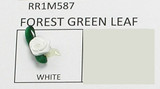 Mini Satin Ribbon Roses Forest Green Leaf WHITE 25 Pack
