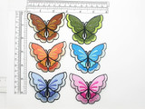 """Butterfly Patch Bordered Iron on Embroidered Applique 2 7/8"""" x 2 1/4"""""""