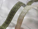 "Jacquard Ribbon 7/8"" Greek Key Metallic Gold *Colors* Per Yard"