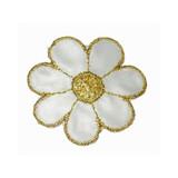 """Daisy Flower 2 1/8"""" White & Gold"""
