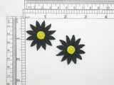 """2 x Daisy Black & Yellow 12 Petal Iron On Patch Applique  Measures 1 1/2""""   Measures 1 1/2"""" high x  1 1/2"""" wide  Fully Embroidered"""