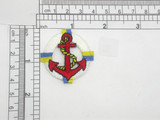 """Life Preserver White Iron On Patch Applique  Fully Embroidered  Measures 1 5/8"""" across x 1 5/8"""" high"""