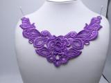 """Venise Yoke Applique Floral  10 1/2"""" x 5""""  (267mm x 127mm)  Purple"""