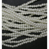 """Strung Pearlised Beads 60"""" Strings 2.5mm White"""