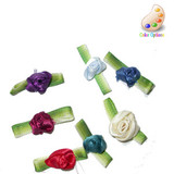Satin Ribbon Roses with Ombre Leaf 144 Piece Pack
