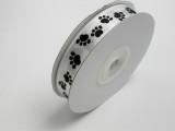"Satin Ribbon 5/8"" (15.8mm) White with  Black Paw Prints 25 Yards"