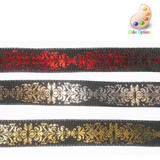 """Wired Ribbon 1"""" Hot Foil on Black Red Per Yard"""