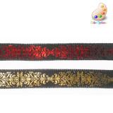 "Wired Ribbon 1 1/2"" Hot Foil on Black/RedPer Yard"