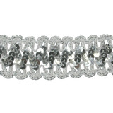 "Sequin Braid 1.5"" Put Ups Metallic Silver"