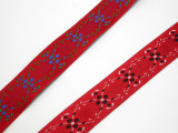 """Jacquard Ribbon 3/4"""" Flower Chain on Red *Colors* 5 Yards"""