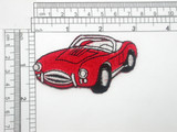 """Sports Car Patch Embroidered Iron On  Applique   Fully embroidered in rayon threads - measures 3"""" long x 1 3/4"""" high"""