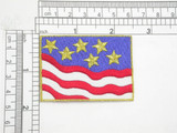 "Stars & Stripes Patch Iron On Patch Applique    Embroidered with rayon and Metallic Thread on a White Twill Backing   Measures 2 1/2"" across by 1 3/4"" high"