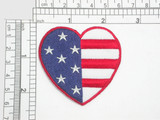 "Stars & Stripes Heart Embroidered Iron On Patch Applique   Embroidered  on a White Twill Backing   Measures 2 1/4"" across by 2 1/4"" high"