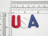 """USA Iron On Patch Applique Red White Blue Fully Embroidered in Red White & Blue Measures 1 7/8"""" long x 1 1 /16"""" high"""