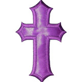 """3"""" x 5"""" Cross Large Satin PURPLE Iron On Patch Applique   Embroidered Border on a Sateen Backing"""