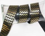 "Foil Chevron Grosgrain Ribbon 1 1/2"" Black & Gold"